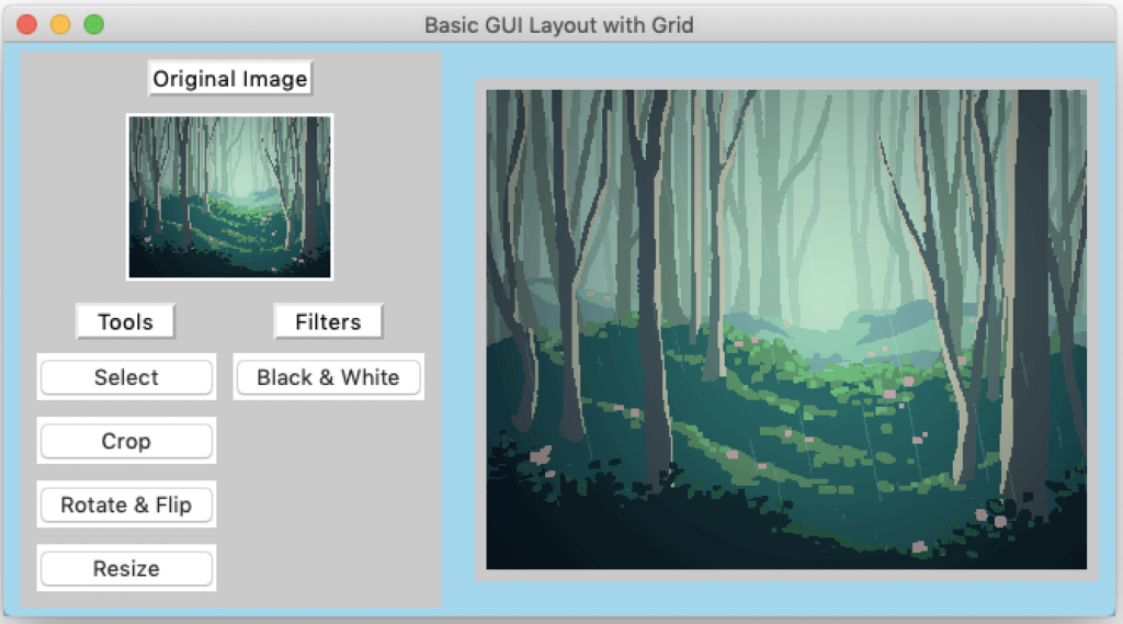 updated photo editor GUI using grid, includes buttons
