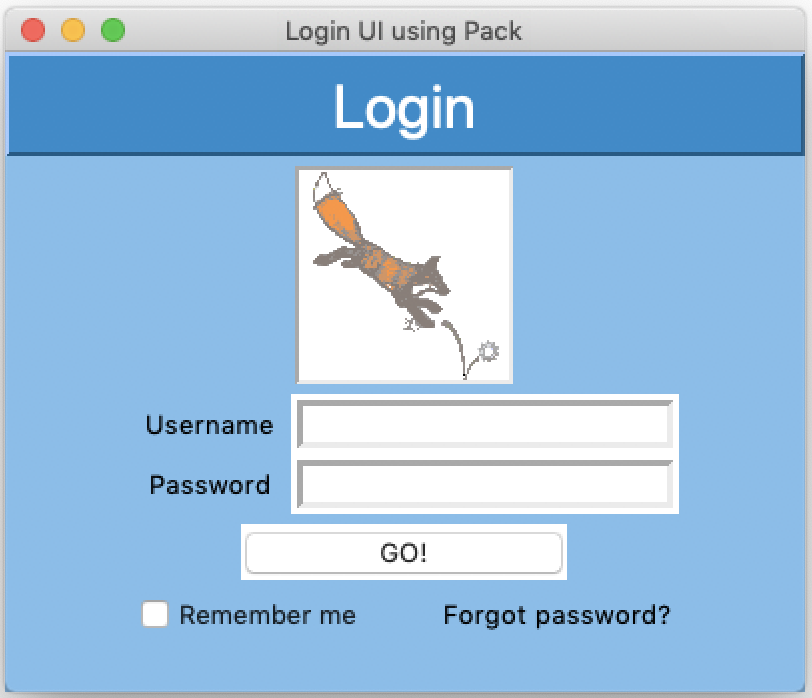 Login UI with Red Huli logo, blue background. Example UI created with Tkinter and Python